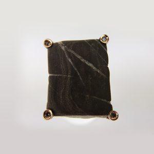 anello oro rosa forma sasso quadrata diamanti marroni 1