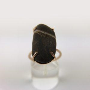 anello oro rosa sasso marrone grande 1